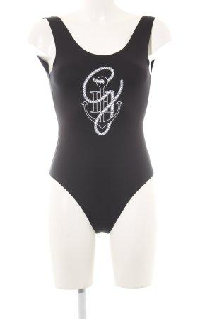 Gigi Hadid x Tommy Hilfiger Blusen-Body schwarz-weiß grafisches Muster