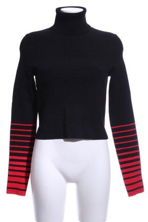 Gigi Hadid x Tommy Hilfiger Rollkragenpullover schwarz-rot Streifenmuster