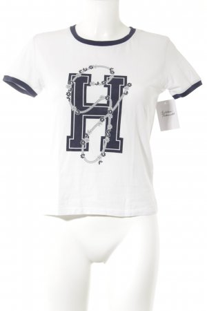 Gigi Hadid x Tommy Hilfiger T-Shirt weiß-dunkelblau Schriftzug gedruckt