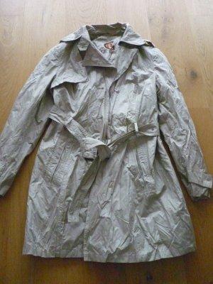 Gil Bret Trenchcoat Mantel knitterlook Gr 40 waschbar beige