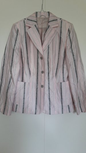 GilBret Blazer schimmernd gestreift rosa grau schwarz klassisch Gr. 38