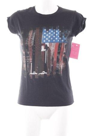 Gildan T-Shirt schwarz platzierter Druck Casual-Look