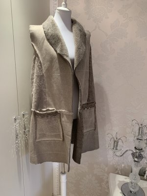 Made in Italy Veste en fourrure gris brun