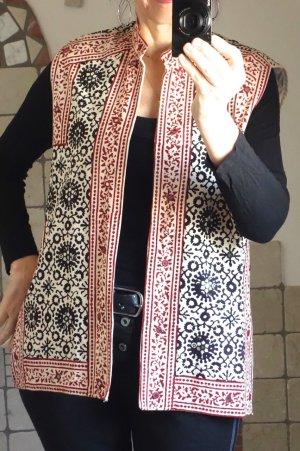 Gilet, originale Handarbeit aus Indien von Talking Textiles, ärmellose Weste, bedruckt, Naturfarben, bestickt, mit kleinen eingearbeiteten Spiegel, Ethno, festes Naturmaterial, gefüttert, Stehkragen, Bordüre, Baumwolle/Leinen Mischung, Bordüre, naturfarbi