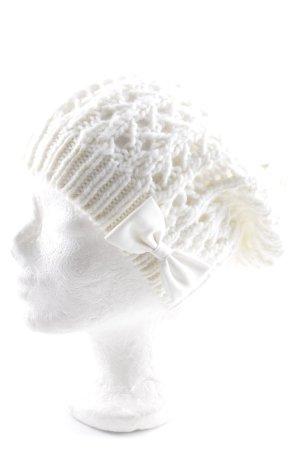 Gilly Hicks Chapeau en tricot blanc cassé torsades style romantique