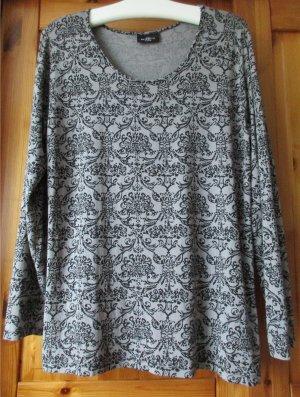 GiNA BENOTTi Damen Langarm Shirt oder Longsleeve, Grau Schwarz 48/50