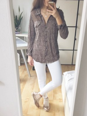 GINA BENOTTI Ernstings Family Bluse Tunika Shirt braun beige taupe Spitze Gr. S
