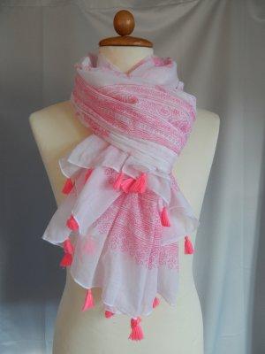 Gina Benotti,großer Schal mit Neon Pompons,weiß-pink,Baumwolle,Paisleymuster