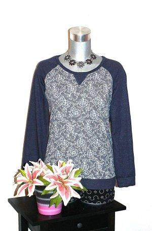 Gina Benotti Spitzenprint Pullover Gr. 40/42 Blau Meliert