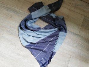 Gina Benotti Tuch hellblau/blau/weiß mit Ziernähten und Fransen