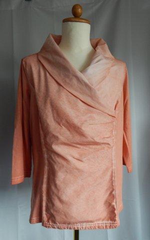 Gina Laura, 3/4 Arm Shirt mit Tafteinsatz und großem Kragen, lachs-batikoptik, Gr. 44/46