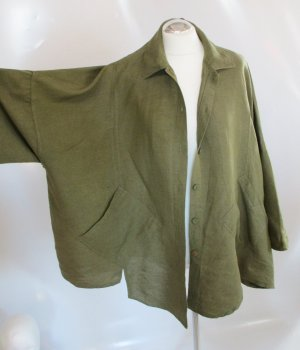 Gina Laura Größe L XL 42 44 Jacke Bluse Khaki Leinen Lagenlook Grün Oversize Zipfel asymmetrisch