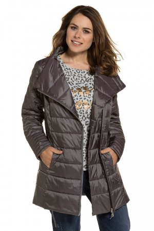Gina Laura Quilted Coat dark grey-grey