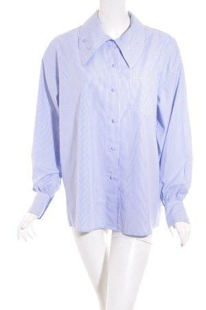 Gina Lombardi Hemd-Bluse weiß-blau Streifenmuster klassischer Stil