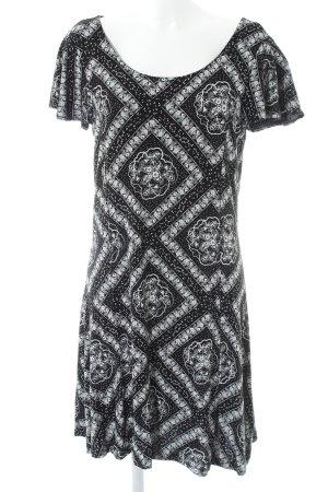 Gina Midikleid schwarz-weiß abstraktes Muster Boho-Look