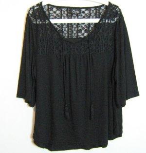 Gina Top en maille crochet noir tissu mixte
