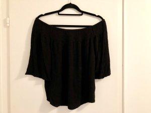 Gina Tricot 36 / S schwarz dreiviertel Top Off Shoulder Bluse schulterfrei