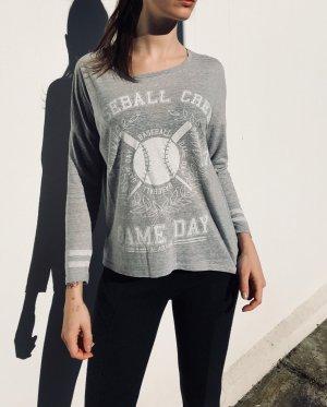Gina Tricot Baseball Shirt grau grey Größe S Blogger Boho Vintage Basic asos