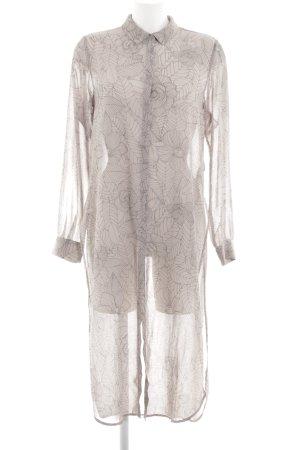 Gina Tricot Blusenkleid wollweiß-schwarz Allover-Druck Street-Fashion-Look