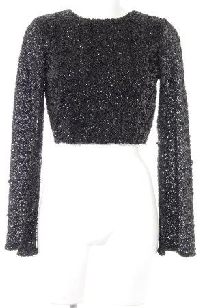 Gina Tricot Cropped Shirt schwarz Glitzer-Optik