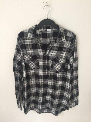 Gina Tricot Camisa de leñador negro-blanco Algodón