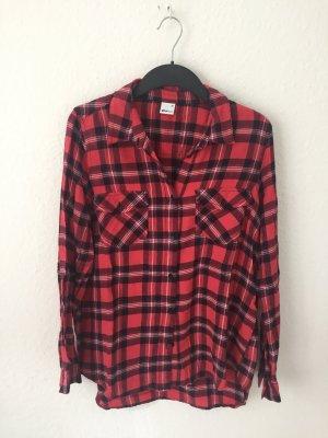 Gina Tricot Camicia da boscaiolo nero-rosso scuro Cotone