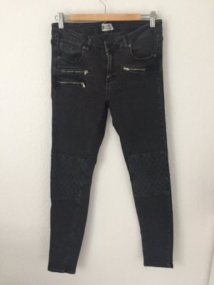 Gina Tricot Jeans im Bikerstyle Grau