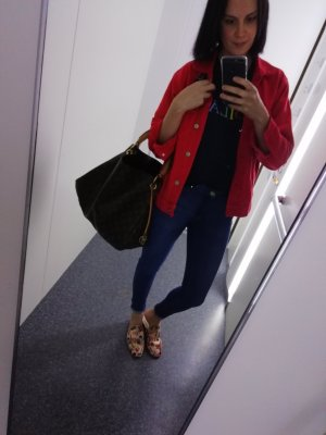 Gina Tricot Jeansjacke Eis rot red denim 38 Jeans