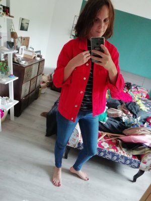 Gina Tricot Jeansjacke rot red Denim 38 Eis