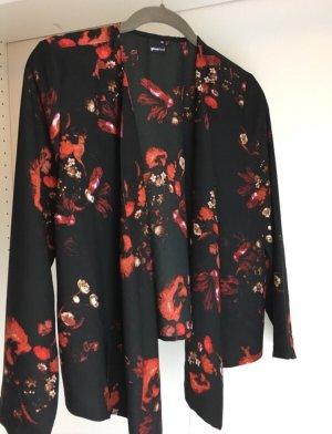 Gina Tricot Kimono Strickjacke Cape schwarz rot