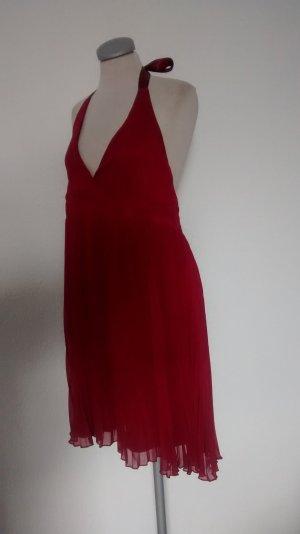 Gina Tricot Kleid Chiffon rot Gr. 42 plissiert Party Minikleid kurz Neckholder