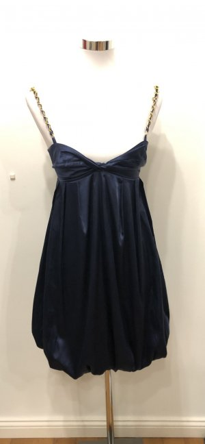Gina Tricot vestido de globo azul oscuro-color oro