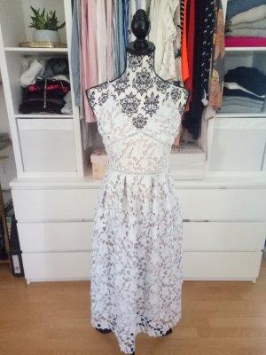 Gina Tricot Kleid Spitze Midikleid Blogger Lace Spitzenkleid M 38 Hellblau