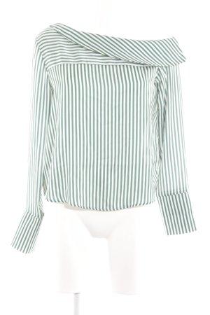 Gina Tricot Langarm-Bluse weiß-grün Streifenmuster Casual-Look