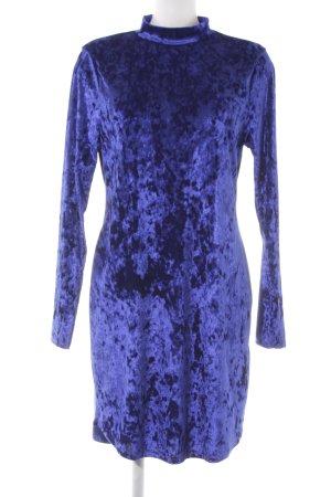 Gina Tricot Langarmkleid blau Samt-Optik
