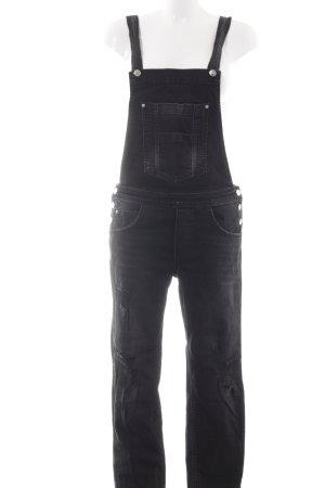 Gina Tricot Bib Denim black distressed style