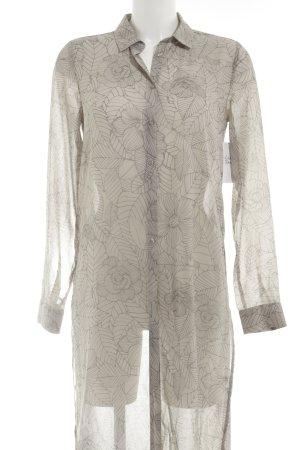Gina Tricot Long-Bluse hellgrau-grau Allover-Druck Street-Fashion-Look
