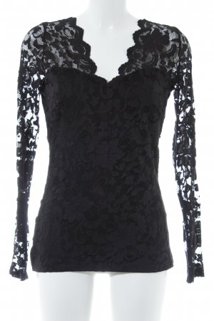 Gina Tricot Longsleeve schwarz florales Muster Casual-Look