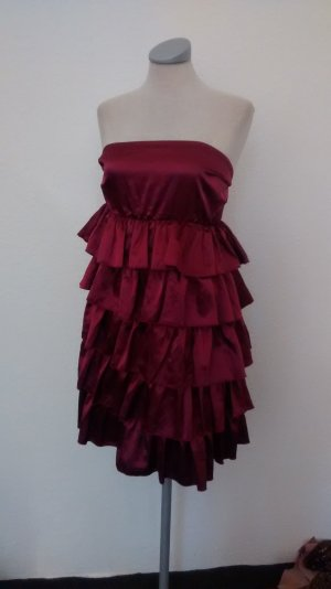 Gina Tricot Party Kleid bordeaux gerüscht Gr. 38 Bandeaukleid Minikleid