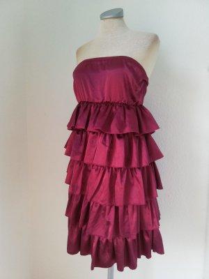Gina Tricot Satin Kleid Bandeaukleid gerüscht Minikleid bordeaux Gr. 38 S M Satinkleid