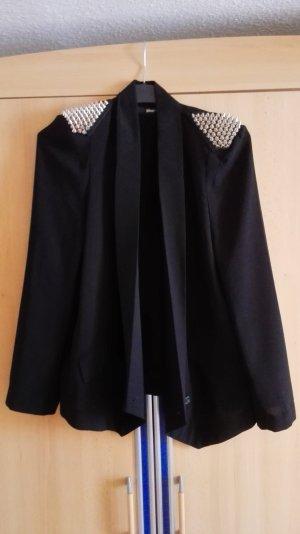 Gina Tricot schwarzer Blazer mit silbernen Nieten und Schulterpolstern Größe 36S