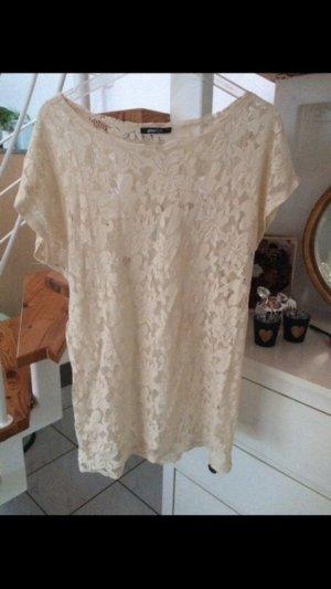 Gina Tricot Top en maille crochet blanc cassé-crème