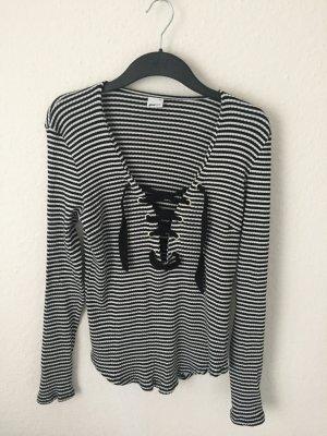 Gina Tricot Shirt mit Schnürung gestreift