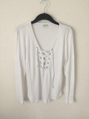 Gina Tricot Shirt mit Schnürung Weiß