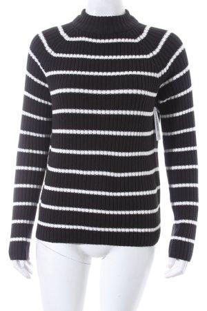 Gina Tricot Strickpullover schwarz-weiß Streifenmuster Casual-Look