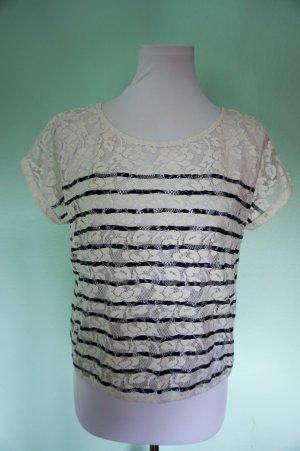 Gina Tricot süßes T-Shirt, weißes Spitz Oberteil