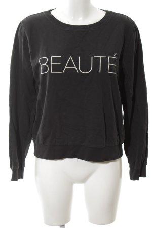 Gina Tricot Sweatshirt schwarz-weiß Schriftzug gedruckt Casual-Look