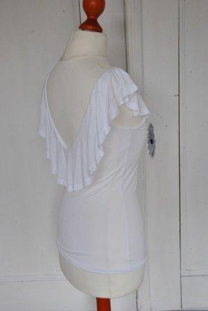 Gina Tricot T-shirt Shirt rückenfrei Rüschen Rückenausschnitt 34 xs