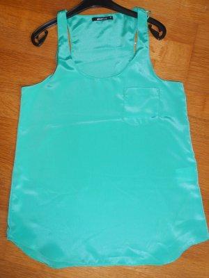 Gina Tricot Top in S 36 grün glänzend mit Brusttasche