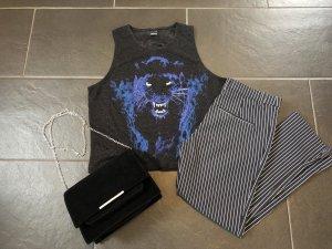 Gina Tricot Top Shirt Schwarz Lila Blau Gr. M